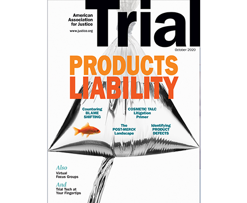 October 2020 Trial cover with the theme Products Liability
