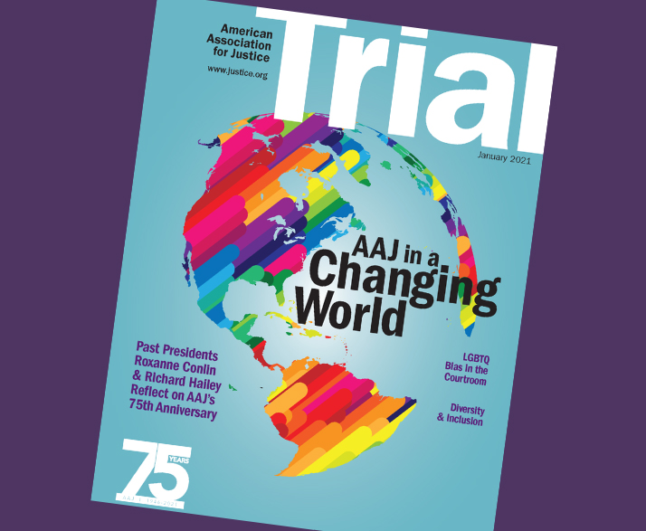 January 2021 Trial cover with the theme AAJ in a Changing World