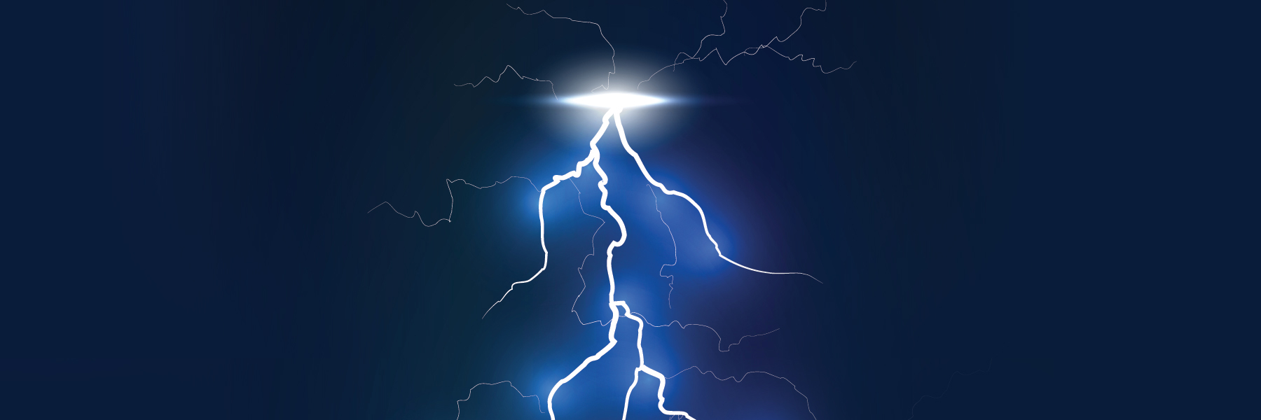 White and electric blue lightning bolt on a dark background,