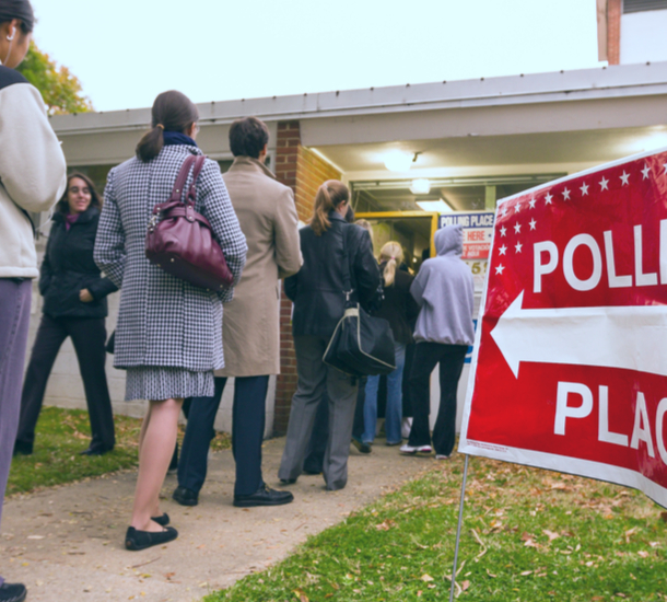 Voters lining up at a polling place in Arlington