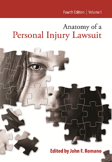 Cover of Anatomony of a Personal Injury Lawsuit, partilly assembled puzzle of female face with missing pieces