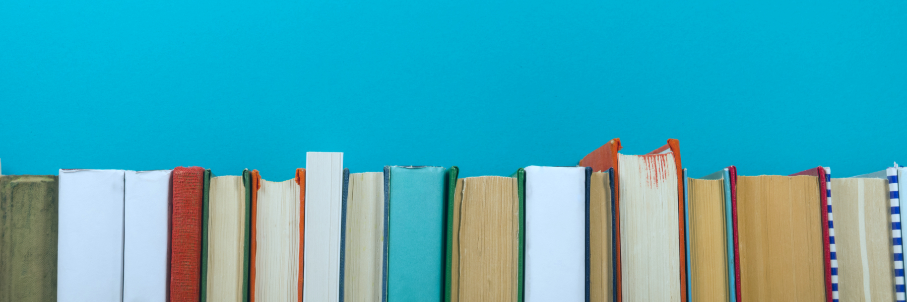 Teal background with rough edges of books across the bottom third.