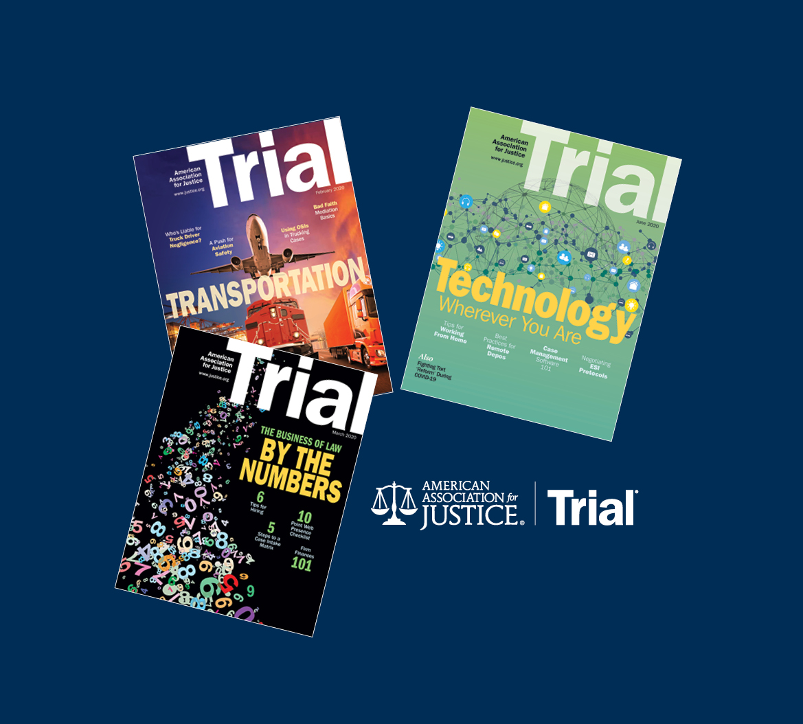 Covers of three recent issues of Trial magazine on a navy blue background.